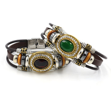 Retro Unisex Multilayer Stainless Steel Beads Bracelet Ethnic Rhinestone Geometric Leather Bracelet