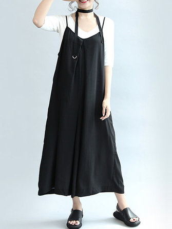 S-5XL Casual Women Black Sleeveless Wide Leg Jumpsuits
