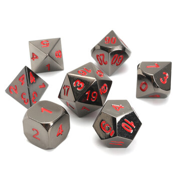 New Metal Polyhedral Dice with Bag Green Red 7 Piece Metal Set DnD RPG