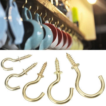 20pcs Brass Plated Cup Mug Hooks Shouldered Screws Hanging Hat Coat Peg Hanger