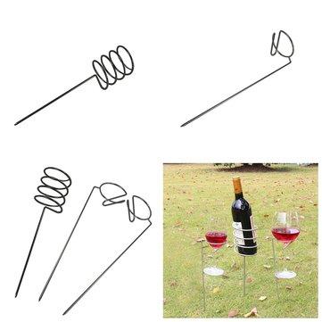 IPRee® 3pcs/set Outdoor Camping Wine Glass Bottle Goblet Rack Holder Iron Support Frame Lawn Picnic Wine Shelf