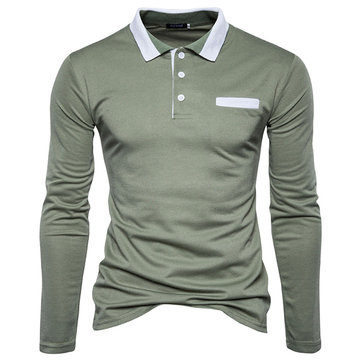 Autumn Winter Mens Fashion Solid Color Lapel Slim Casual Long-sleeved Golf Shirt