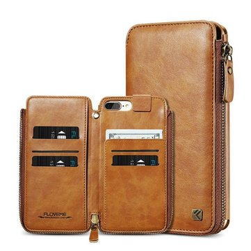 Custodia per Floveme Zipper Wallet Card Slot per iPhone 6 6s 6 Plus & 6s Plus