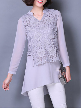 Elegant Women Fake Two-piece Lace Crochet Patchwork Chiffon Blouse