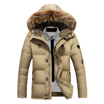 Mens Down Jackets Thick Warm Fur Collar Hooded Parkas Winter Puffer