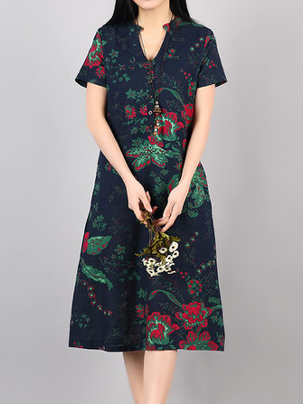 Vintage Women V-Neck Floral Printed Short Sleeve Dresses