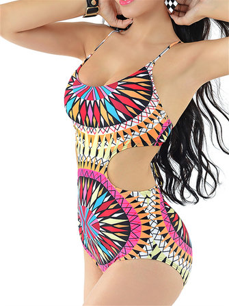 Sexy Geometric Tight Backless Wireless Cross Belt Elastic One-Pieces Monokini