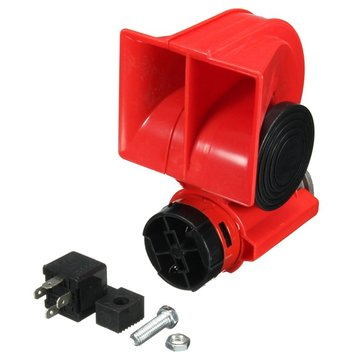DC 12V Red Twin Tone Air Blast Electric Horn Loudspeaker Steam With Relay For Motor Bike Car Boat