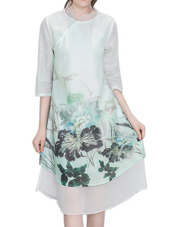 Women Chinese Style Flower Printed Chiffon High Low Dress