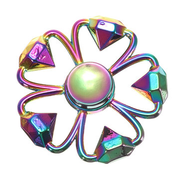 Zinc Alloy Five leaves Diamond Shape Rotating Fidget Hand Spinner ADHD Autism Reduce Stress Toys