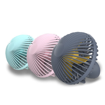 Loskii HF-200 Portable Mini Electronic Desktop Mushroom Shape Summer Cooling Fan 2 Grade Adjustment USB Charging Fan