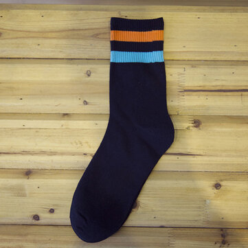 Mens Autumn Cotton Multicolor Stripe Middle Tube Breathable Wicking High Socks