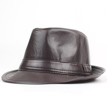 Men Women PU Leather Plain Weave Crimping Brim Jazz Top Hat