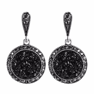 Vintage Ear Drop Earring Black Crystal Round Geometric Dangle Ethnic Jewelry for Women