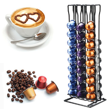 60pcs Coffee Capsule Cup Holder Storage Stand Chrome Tower Mount Rack