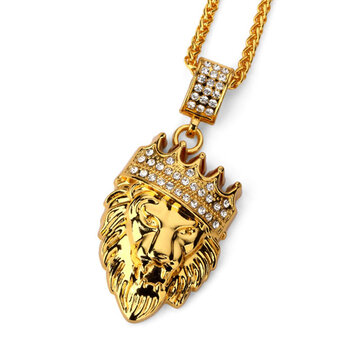 Hip hop fashion gold chain rey corona len cabeza colgante collar hip hop fashion gold chain rey corona len cabeza colgante collar para hombres aloadofball Images