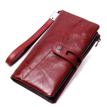 Women Genuine Leather Vintage Purse Long Wallet Card Holder