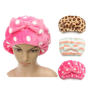 Women Ladies Shower Cap Flannel Flexible Hat Butterfly Headbrand Dry Hair Hat