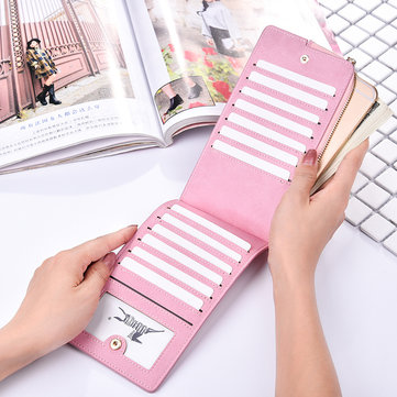 Women Retro Mulri-slots 13 Card Slots Long Card Holder Coin Bag Phone Bag Wallet