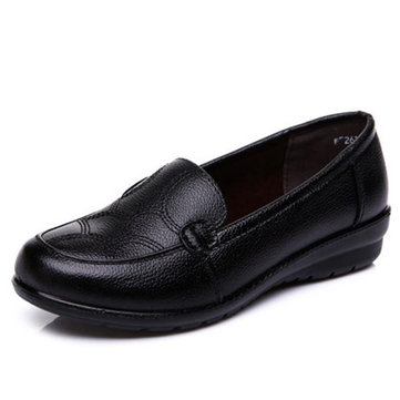 Women Soft Flats Shoes Black Slip On Round Toe Casual Outdoor Loafer