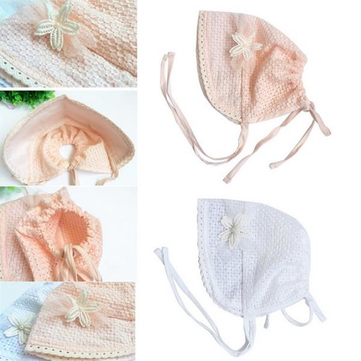 Newborn Baby Girls Princes Sweet Flower Cap Palace Cute Cotton Sun Hat