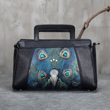 Brenice Embroidery Peacock Genuine Leather Retro Handbag