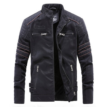 Mens Faux Leather Fleece Liner Winter Warm Stand Collar PU Jacket