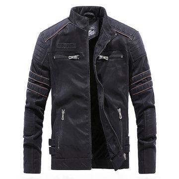 Mens Faux Leather Fleece Liner Winter Warm PU Jacket