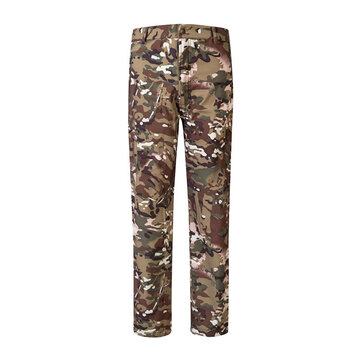 Mens Outdoor Soft Shell Fleece Lining Pants Thermal Quick-drying Water-repellent Trousers