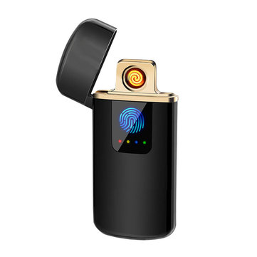 KCASA Ultra-thin USB Lighter Fingerprint Touch Touch-senstive Switch Lighter Electronic Lighter Power Display