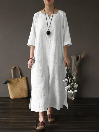 Plus Size Vintage Cotton V-neck Maxi Dress for Women