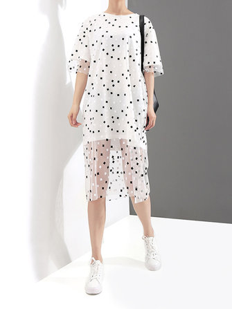 Casual Women Fake Two Pieces Polka Dot O-Neck Short Sleeve Dress