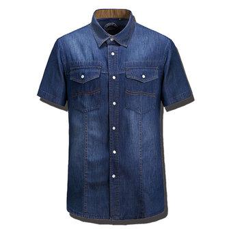 Denim de manga corta verano de los hombres camisa de cuello de apertura de cama suelta la camiseta