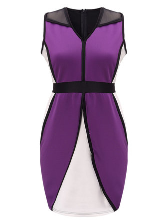 Plus Size Color Block Patchwork V Neck Sleeveless Bodycon Dress
