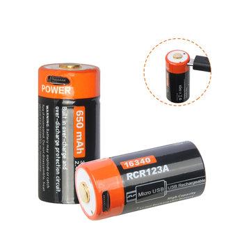 Nicron NRB-L650 LEDインジケータ付き650mAh 3.7V USB充電式保護16340リチウムイオンバッテリ