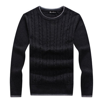 Homens de cor sólida em torno do pescoço aurumn knited inverno camisola pullover ocasional