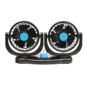 Dual Head 12V Car Fan Portable Vehicle Truck 360 Degree Rotatable Auto Cooling Cooler
