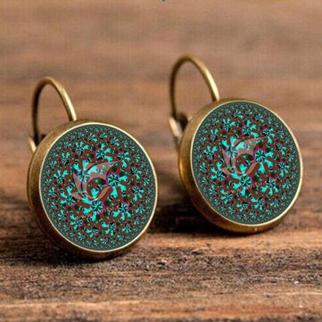 Bohemian Green Flower Earrings Round Shape Drop Earrings Retro French Earring For Women