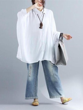 Casual Loose Pure Color Long Batting Sleeve Lapel Women Blouses