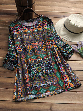 Gracila Ethnic Printing Blouse
