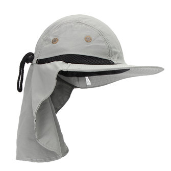Unisex boonie snap hat brim ear neck cover sun flap cap for Fishing neck cover