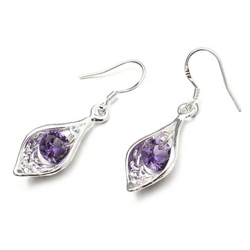 Elegant Silver Plated Purple Zircon Pandent Gemstone Water Drop Earrings Jewelry for Women