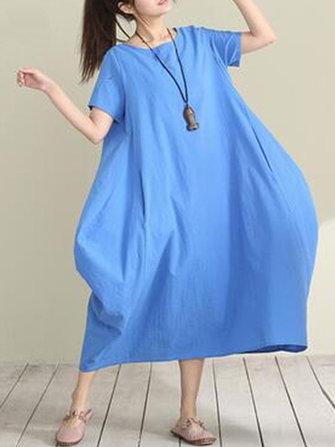 느슨한 여자 대형 맥시 드레스 짧은 소매 포켓 - 라인 드레스