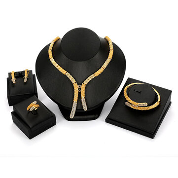 Luxury Bridal Jewelry Set Rhinestones 18K Gold Stick Bar Bracelet Ring Necklaces Earrings for Women