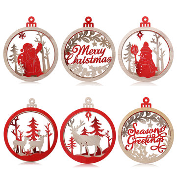 Christmas Wooden Round Hanging Tree Party Ornament Festival Home Decorations Toy