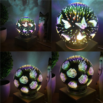 3D USB Fancy Bright Fireworks LED Night Light Glass Ball Magic Desk Lamp Home Room Decor