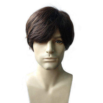 Brown Men Hair Wig Fluffy Medium Heat Resistant Synthetic Fiber
