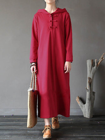 Women Pure Color Hoodies Long Sleeve Plate Buttons Maxi Dress