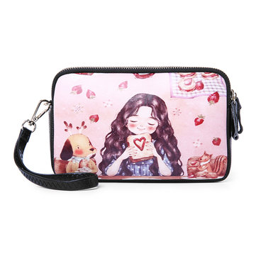Women Print Cartoon Leisure Crossbody Bag Multi-layer Should