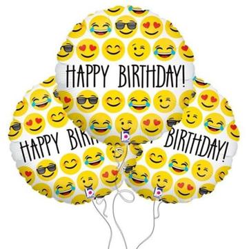 3pcs 18inch heureuse expression d'anniversaire ballon feuille emoji ballon pour l'anniversaire partie décoration Balloo